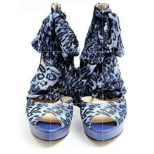 Enzo Angelioni scarf platform heels size 8.5
